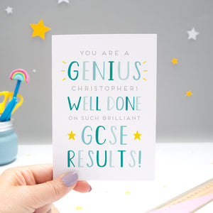 'You are a genius [insert name]! Well done on such brilliant GCSE results'. A personalised exam congratulations card featuring my hand drawn letters in varying shades of blue and yellow stars.