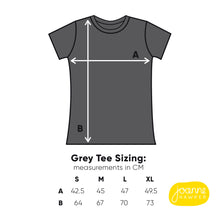 Load image into Gallery viewer, Grey charcoal t-shirt size guide