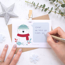 Load image into Gallery viewer, Personalised polar bear secret message Christmas scratch card being hand written.