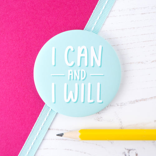 I can and I will positivity pocket mirror in duck egg blue