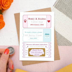 A personalised baby due date announcement card by Joanne Hawker featuring life special milestones before scratching to reveal baby due date!