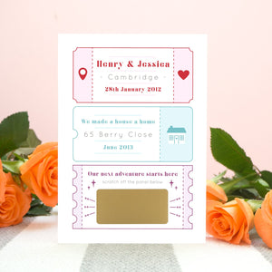A personalised baby due date announcement card by Joanne Hawker featuring life special milestones! The baby due date announcement is hidden by a gold panel before it is scratched off.