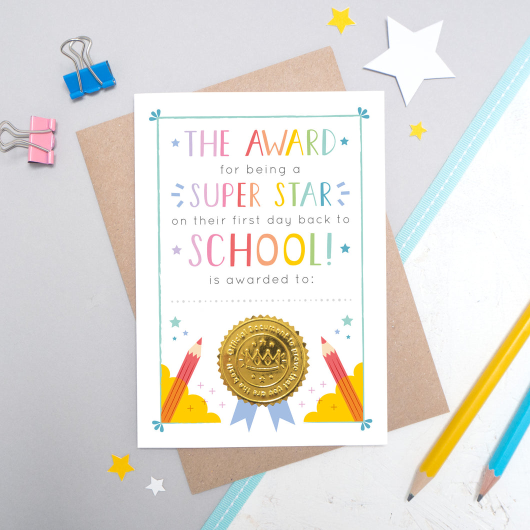Back to School Certificate Card