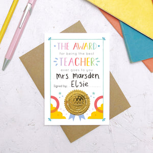 Best Teacher Certificate Card