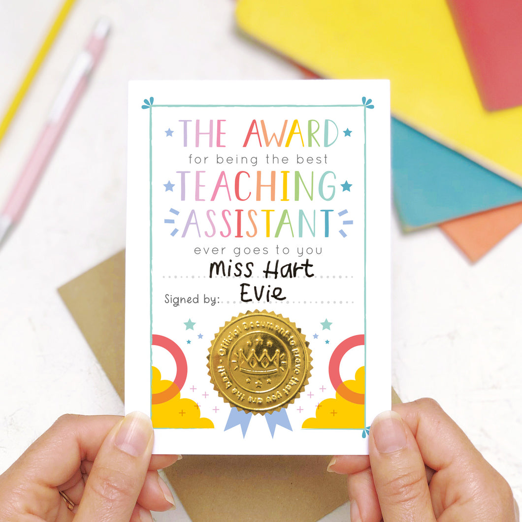 Best Teaching Assistant Certificate Card