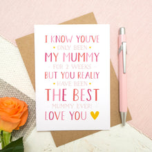 Load image into Gallery viewer, A personalised brand new mummy mother's day card, letting the mum know that she is the best and is loved! Set on a pink, white and grey background with a peach rose.