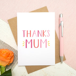 Thanks Mum - a simple typographic card in varying tones of pink with a pop of yellow. Each card comes with a kraft brown envelope. Designed and made by Joanne Hawker.