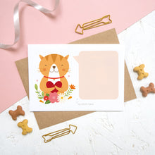Load image into Gallery viewer, A personalised cat scratch card which is blank, before the message has been written and panel attached