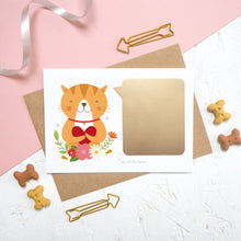 Load image into Gallery viewer, The personalised cat card once the golden scratch panel has been attached.