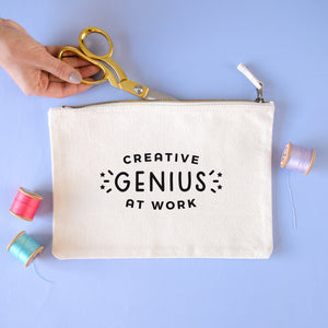 Creative genius at work natural coloured cotton pouch in size large. Perfect for storing your latest project.