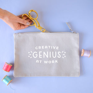 Creative genius at work grey coloured cotton pouch in size large. Perfect for storing your latest project.