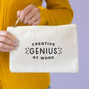 Creative genius at work natural coloured cotton pouch in size medium. Perfect for storing your pens and pencils!