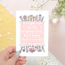 Load image into Gallery viewer, Original wedding date card for wedding postponements or delays. Photographed being held over a white, yellow and pink textured background with a pink pen and hint of foliage. The card features pink block of text and hand drawn florals.