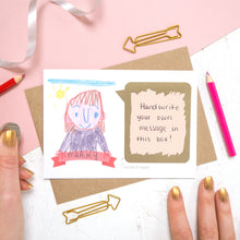 Load image into Gallery viewer, Draw your own scratch card with a hand written message of 'i love you mummy'. The card features a child like drawing of a person and the panel has been scratched off to reveal a hand written message.