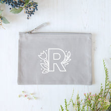 Load image into Gallery viewer, A grey cotton zipped pouch with a floral initial R printed in white.
