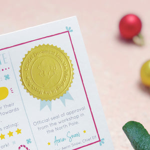 "A close up of the shiny gold Christmas stamp. The stamp reads ""Official document from the workshop in the north pole"". Shot over a pink background with baubles and green foliage."