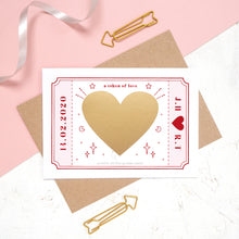Load image into Gallery viewer, The personalised Love token scratch card after the personalised message has been covered with the gold scratch panel.