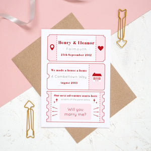 A personalised will you marry me scratch card where the question has been fully revealed. The card details special moments such as when you first met and where you first lived together.