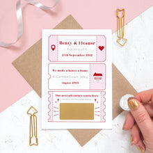 Load image into Gallery viewer, A personalised will you marry me scratch card where the question is hidden under a golden panel ready to be revealed. The card details special moments such as when you first met and where you first lived together.