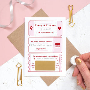 A personalised will you marry me scratch card where the question is hidden under a golden panel ready to be revealed. The card details special moments such as when you first met and where you first lived together.