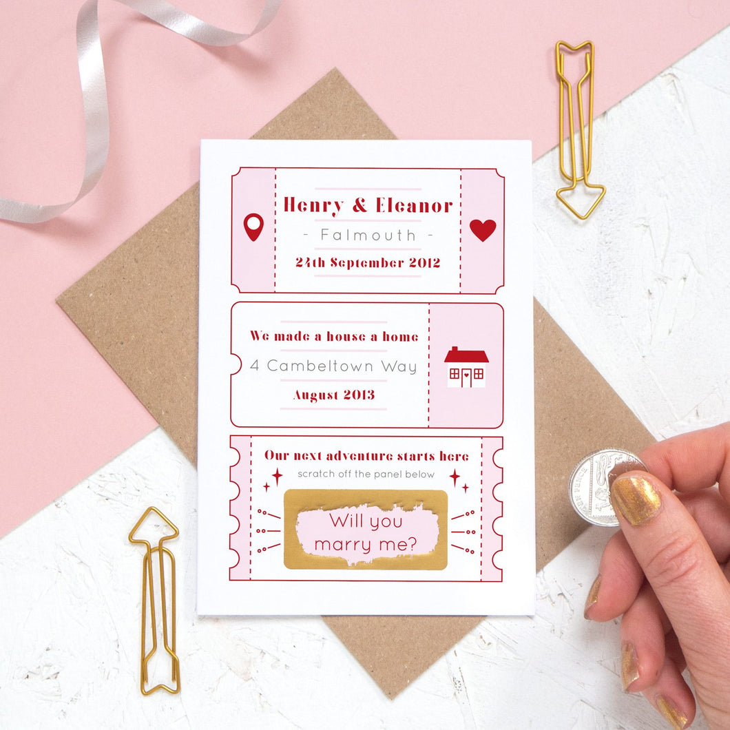 A personalised will you marry me scratch card where the question has been scratched off. The card details special moments such as when you first met and where you first lived together.