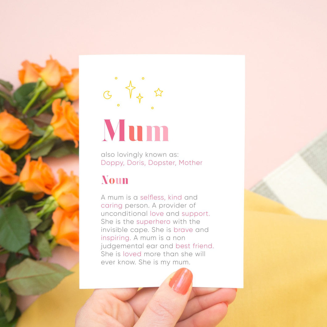 A personalised mum dictionary definition card by Joanne Hawker featuring personalised nicknames and a definition tailored to your mum!