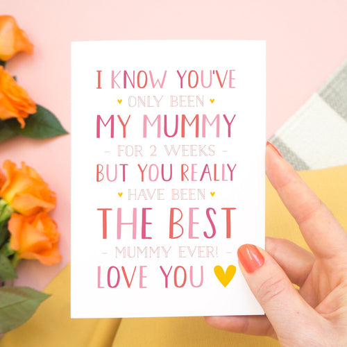 A personalised brand new mummy mother's day card, letting the mum know that she is the best and is loved! Set on a pink, white and grey background with a peach rose.