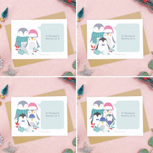 Load image into Gallery viewer, A combination of images each showing an example of what a family of 2, 3, 4, or 5 penguins looks like. Each shot on a pink background with festive props and sprinkles of snow.