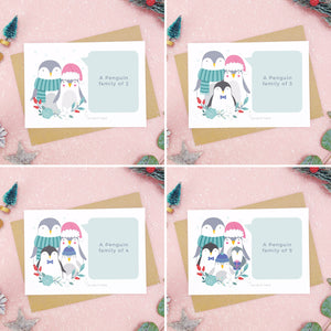 A combination of images each showing an example of what a family of 2, 3, 4, or 5 penguins looks like. Each shot on a pink background with festive props and sprinkles of snow.