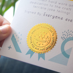A close up of the gold shiny stamp!