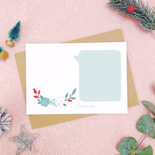 Load image into Gallery viewer, A make your own scratch card with a blank area for drawing and blank speech bubble for writing your message. Shot on pink with snow and greenery.