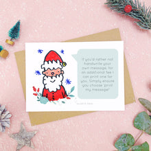 Load image into Gallery viewer, A make your own scratch card with a childs drawing of santa and an example of a printed message. Shot on pink with snow and greenery.