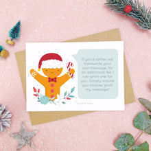 Load image into Gallery viewer, A personalised gingerbread man scratch card an example of the printed message. Shot on a pink background with grey and green festive props.