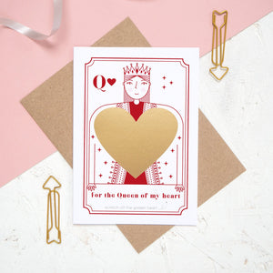 A Queen of my heart scratch card after the gold panel has been applied and before the message has been revealed.