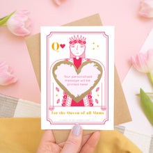 Load image into Gallery viewer, A queen of all mums scratch card showing you where your printed personalisation will go on the card. The card has been scratched off and is being held above pink tulips and a yellow skirt.