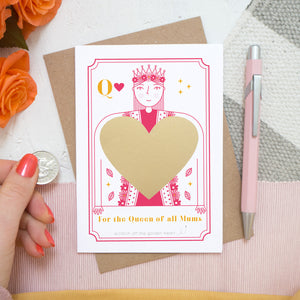 For the queen of all mums! A scratch card by Joanne Hawker featuring a bright pink queen and the gold heart after it has been applied and before it is scratched off.