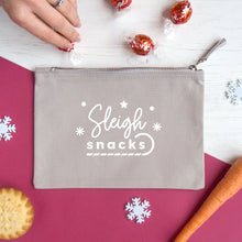 Load image into Gallery viewer, Sleigh snacks cotton accessory pouch in grey.