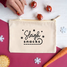Load image into Gallery viewer, Sleigh snacks cotton accessory pouch in natural.