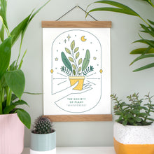 Load image into Gallery viewer, Joanne Hawker Society Of Plant Whispers Print In full colour surrounded by a range of natural foliage!