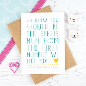 We knew you would be the best mum - blue mother's day card