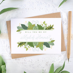 Foliage will you be my maid of honour card