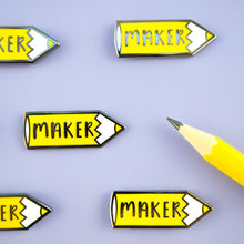 Yellow Pencil 'Maker' hard enamel pins with a real yellow pencil