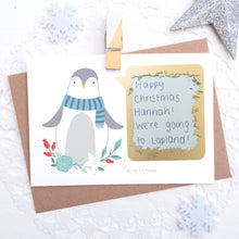 Load image into Gallery viewer, Personalised penguin christmas scratchcard with secret message