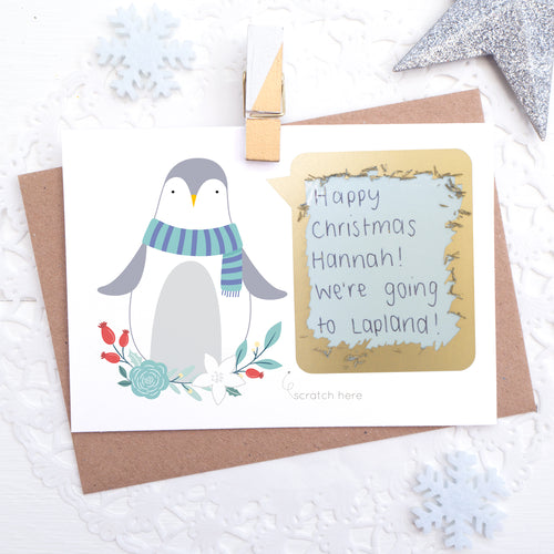Personalised penguin christmas scratchcard with secret message