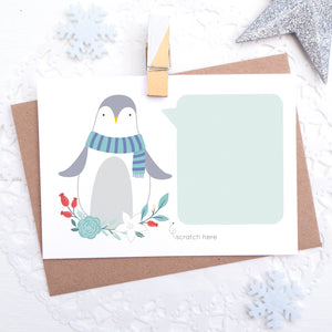 Personalised penguin christmas scratchcard with space to write your own secret message