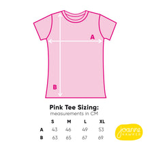 Load image into Gallery viewer, T-shirt size guide for the pink tee