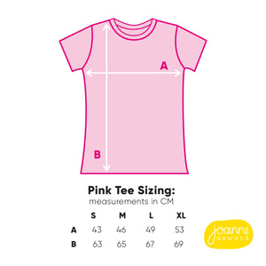 T-shirt size guide for the pink tee