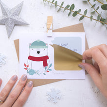 Load image into Gallery viewer, Personalised polar bear secret message Christmas scratch card with the gold scratch and reveal panel being applied.