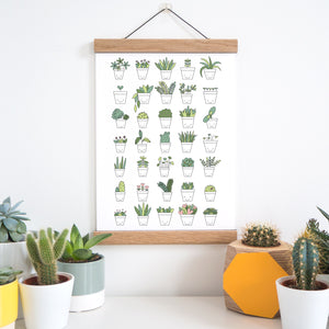 A plant print featuring smiley faces on the pots and held in place with an A4 oak magnetic frame. The print is surrounded by a variety of cacti, succulents and house plants.