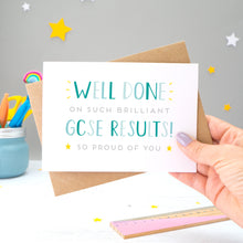 Load image into Gallery viewer, 'Well done on such brilliant GCSE Results! So proud of you. A congratulations card featuring my hand drawn type in varying shades of blue, with a bright yellow stars around the grey text.